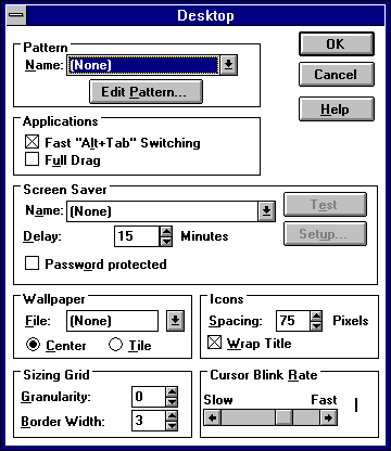 Appearance in Windows NT 3.51 Workstation (Desktop)