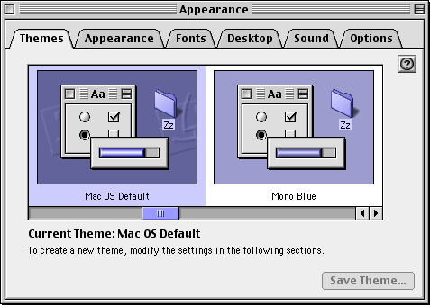 Desktop themes in Mac OS 9.0 (Appearance)