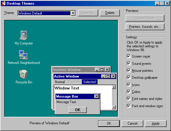 Desktop themes in Windows 98 (Desktop Themes)