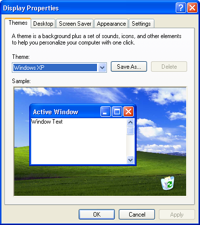Desktop themes in Windows XP Pro (Display Properties)