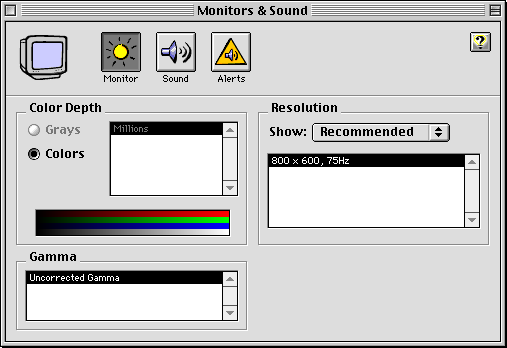 Display in Mac OS 8.0 (Monitors & Sound)