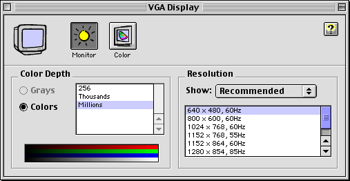 Display in Mac OS 9.0 (Monitors)