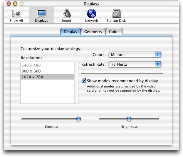 Display in Mac OS 10.0.4 (Displays)