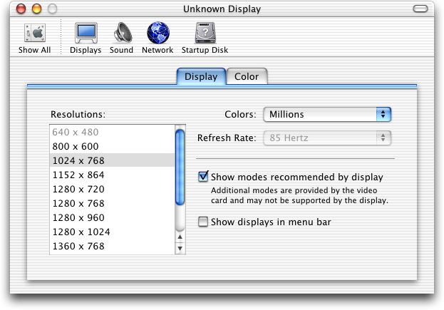 Display in Mac OS 10.1 (Displays)