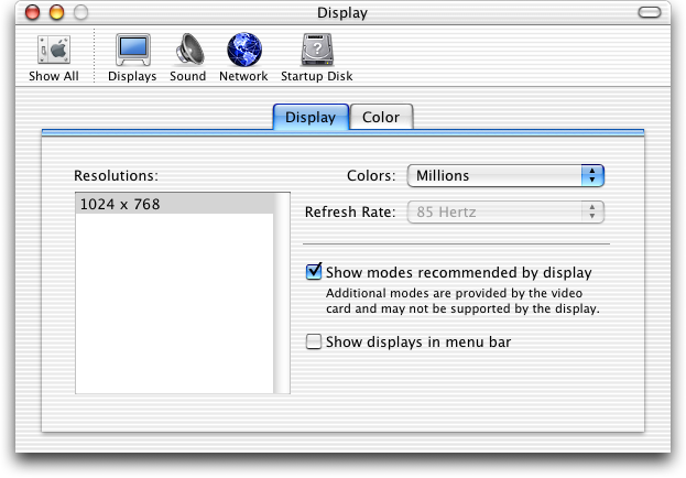 Display in Mac OS X Jaguar (Displays)