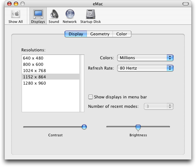 Display in Mac OS X Panther (Displays)