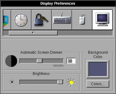 Display in OPENSTEP 4.2 (Display Preferences)