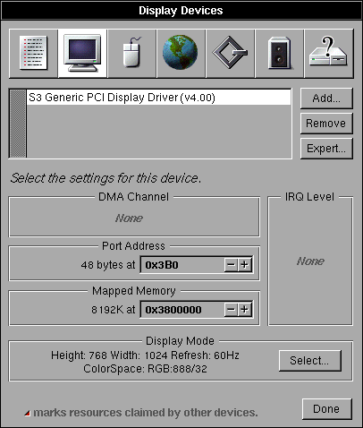 Display in OPENSTEP 4.2 (Display Devices)