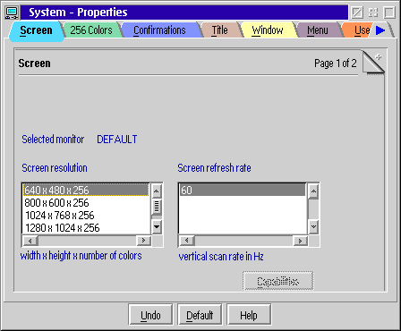 Display in OS/2 Warp 4