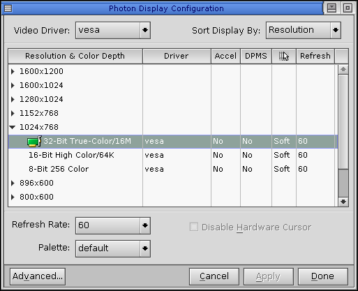 Display in QNX 6.2.1 NC (Photon Display Configuration)