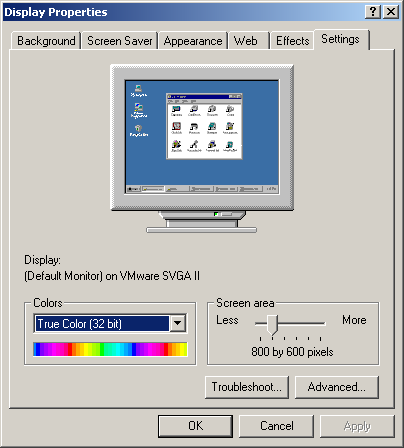 Display in Windows 2000 Pro (Display Properties)