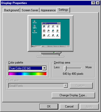 Display in Windows 95 (Display Properties)