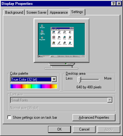 Display in Windows 95B (Display Properties)