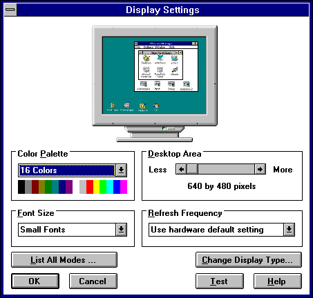 Display in Windows NT 3.51 Workstation (Display Settings)