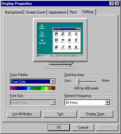 Display in Windows NT 4.0 Server