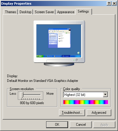 Display in Windows Server 2003 Web (Display Properties)