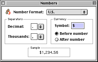 International in Mac OS 9.0 (Numbers)