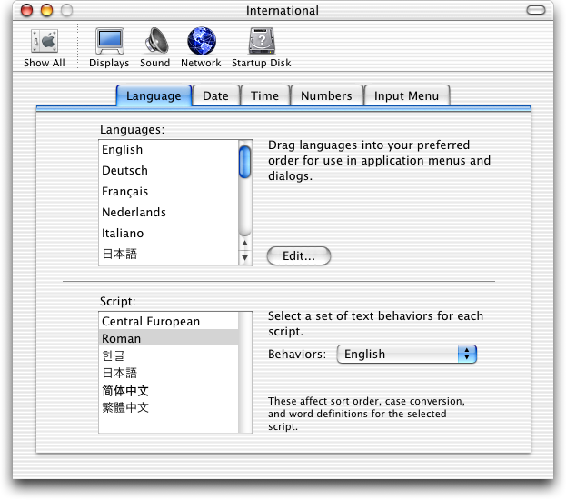 International in Mac OS X Jaguar (International)