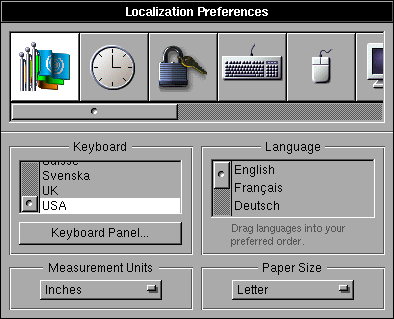 International in OPENSTEP 4.2 (Localization Preferences)