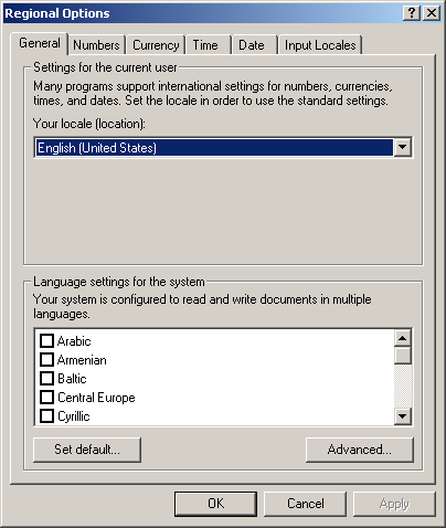 International in Windows 2000 Pro (Regional Options)