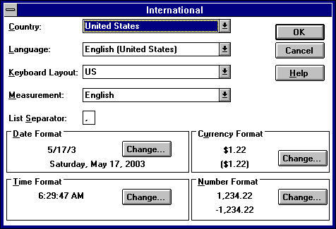 International in Windows NT 3.51 Workstation (International)
