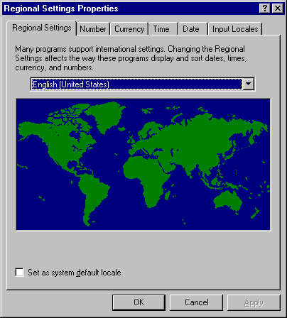 International in Windows NT 4.0 Workstation (Regional Settings Properties)