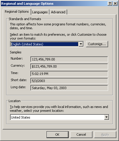 International in Windows Server 2003 Web (Regional and Language Options)