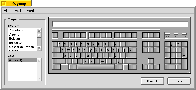 Keyboard in BeOS R5.0.1 PE (Keymap)