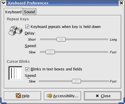 Keyboard in GNOME 2.2.0 in RedHat 9 (Keyboard Preferences)