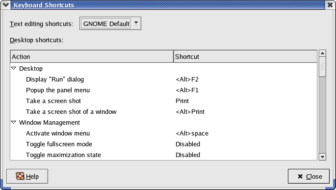 Keyboard in GNOME 2.2.0 in RedHat 9 (Keyboard Shortcuts)