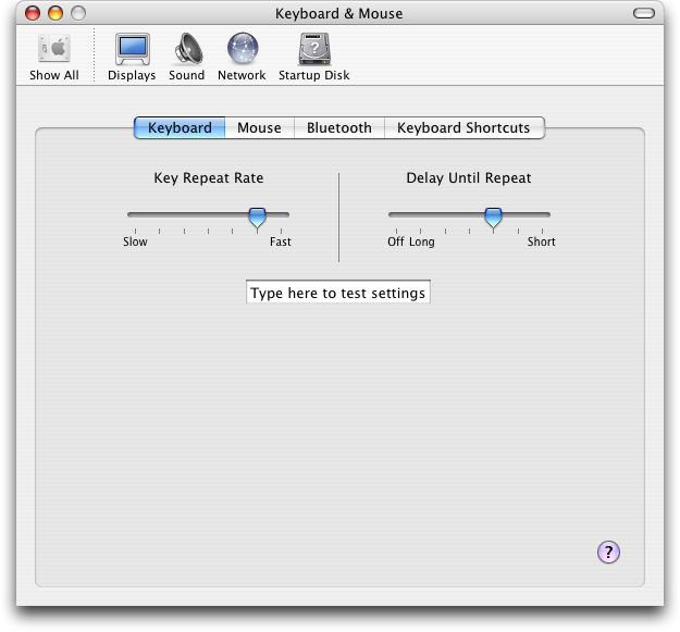 Keyboard in Mac OS X Panther (Keyboard & Mouse)