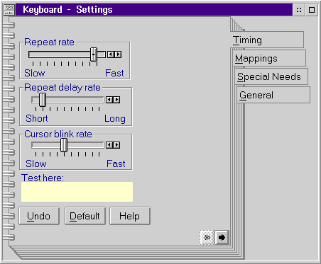 Keyboard in OS/2 Warp 3 (Keyboard – Setings)