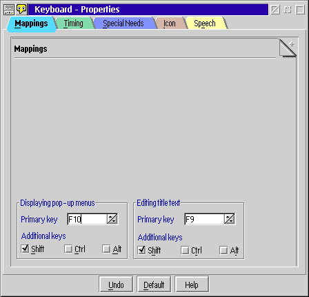 Keyboard in OS/2 Warp 4 (Keyboard – Properties)