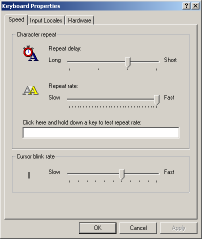 Keyboard in Windows 2000 Pro (Keyboard Properties)