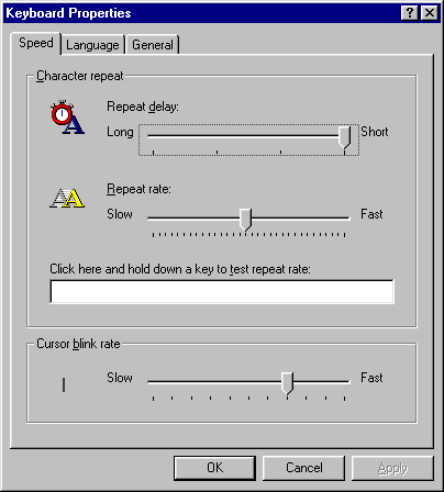 Keyboard in Windows 95B (Keyboard Properties)