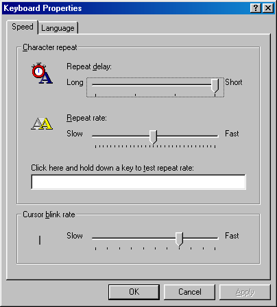 Keyboard in Windows 98 SE