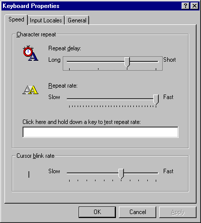 Keyboard in Windows NT 4.0 Workstation (Keyboard Properties)