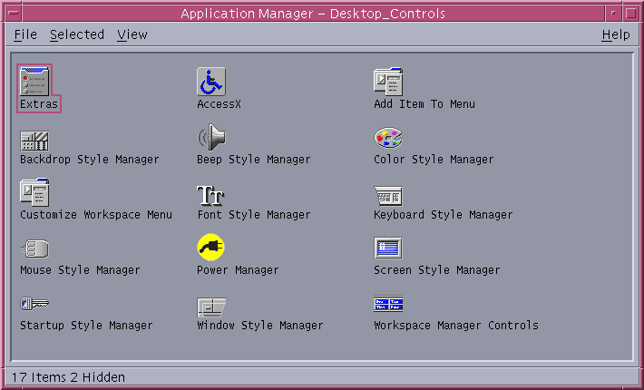 Settings menu in CDE 1.5 in Solaris 9 (Desktop Controls)