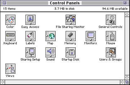 Settings menu in System 7.0 (Control Panels)