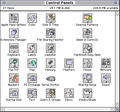 Settings menu in System 7.5.3 (Control Panels)