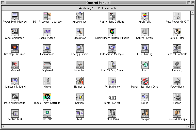 Settings menu in Mac OS 8.0 (Control Panels)