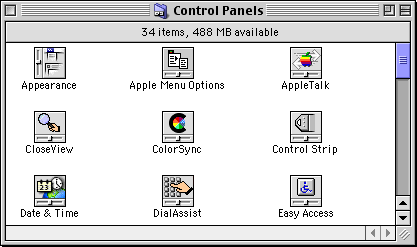 Settings menu in Mac OS 9.0 (Control Panels)