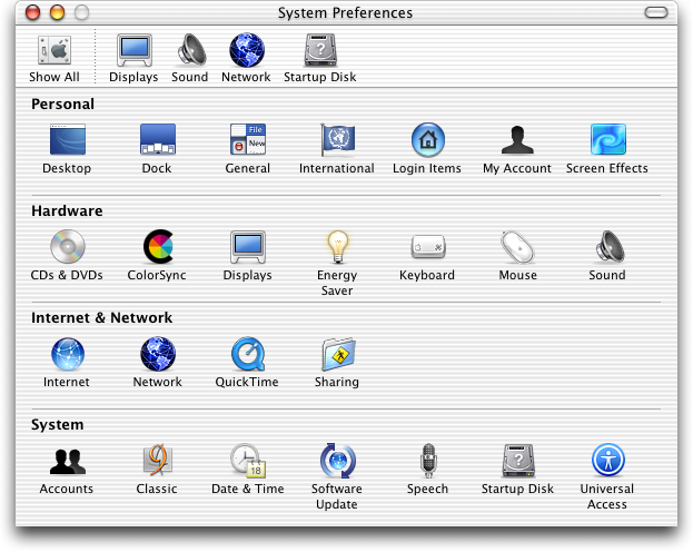 Settings menu in Mac OS X Jaguar (System Preferences)
