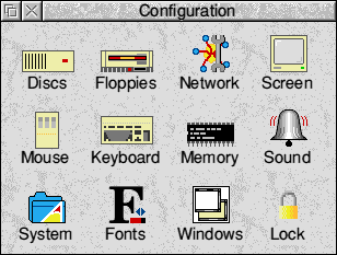 Settings menu in RISC OS 3.7 (Configuration)