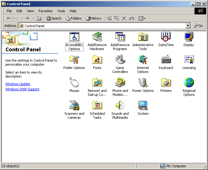 Settings menu in Windows 2000 Advanced Server (Control Panel)