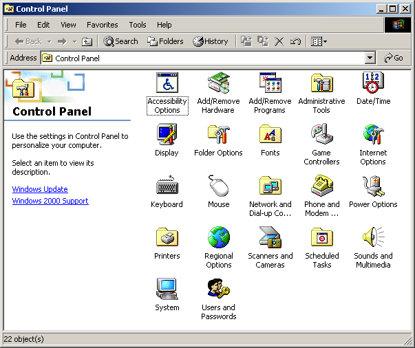 Settings menu in Windows 2000 Pro (Control Panel)