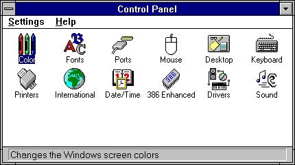 Settings menu in Windows 3.1 (Control Panel)
