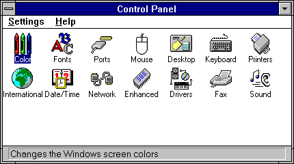 Settings menu in WfW 3.11 (Control Panel)