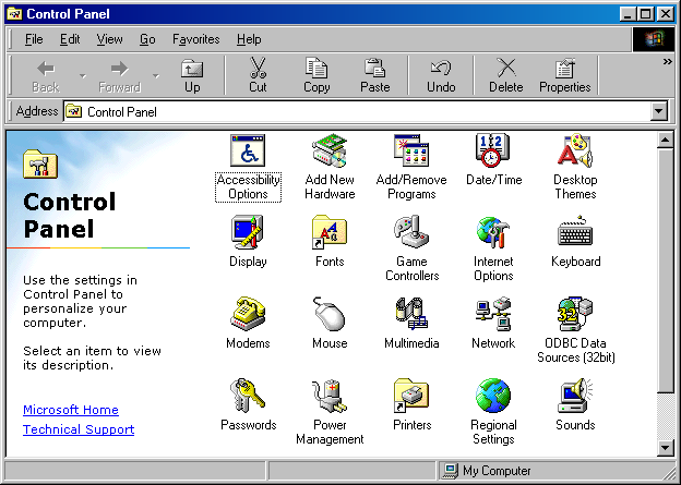 Settings menu in Windows 98 SE (Control Panel)