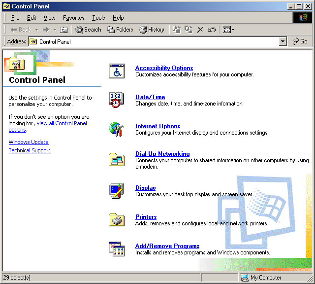 Settings menu in Windows Me (Control Panel)
